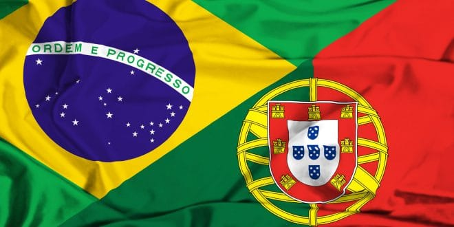 36593230 - waving flag of portugal and brazil